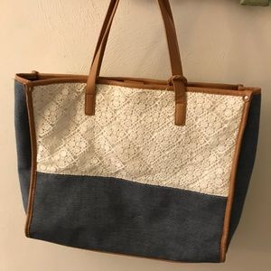 Large lace and polka dotted tote